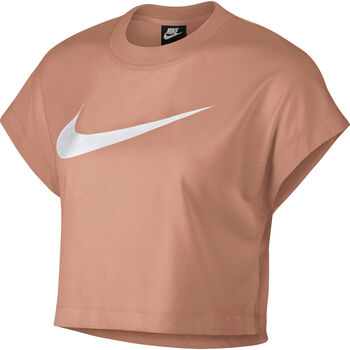 Nike Sportswear Swoosh Short-Sleeve Crop Top Nők rózsaszín