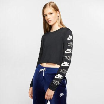 Nike W Nsw Tee LS Futura női felső Nők fekete