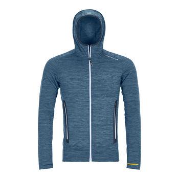 ORTOVOX Fleece Light Melange férfi kapucnis felső Férfiak kék