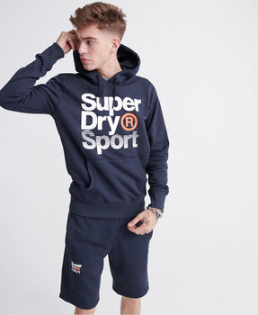 Superdry Core Sport Overhead férfi kapucnis felső Férfiak kék