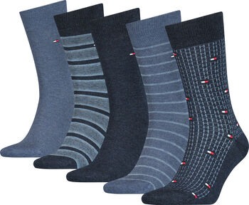 Tommy Jeans Fine Stripe férfi zokni (5pár/csomag) Férfiak kék