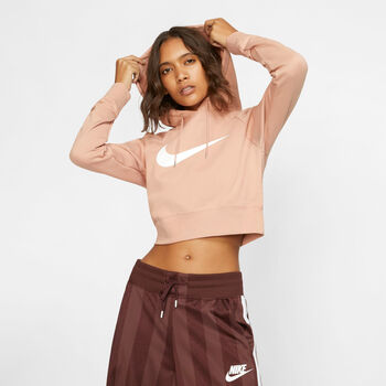 Nike Swoosh Cropped French Terry Hoodie női kapucnis felső Nők rózsaszín