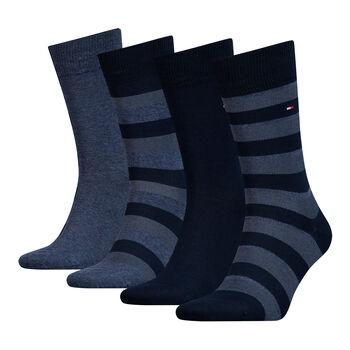 Tommy Jeans Classic Stripe 4 pár zokni díszdobozban Férfiak kék