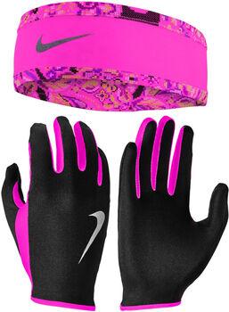 Nike Womens Run Dry szett: futókesztyű és fejpánt fekete