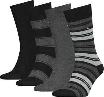 Tommy Jeans Tommy Hilfiger Stripe Sockférfi zokni, 4-es csomag Férfiak fekete